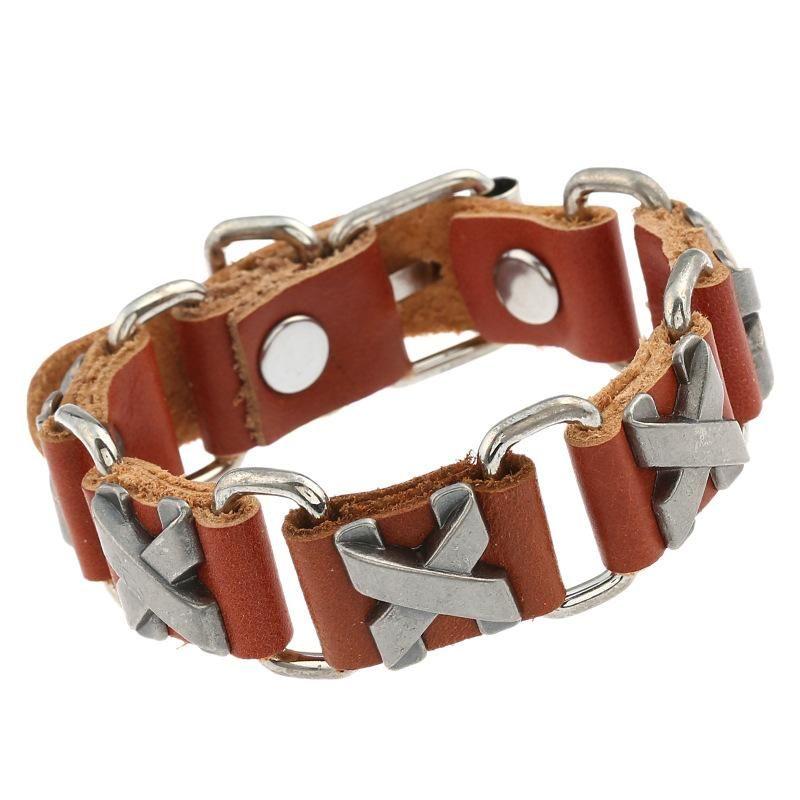 Fashion alloy cowhide bracelet leather jewelry bracelet wholesale couple bracelet NHPK191610