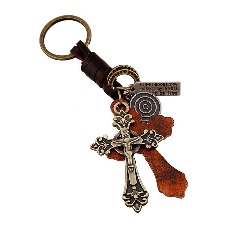 Exquisite Cross Alloy Leather Keychain Vintage Woven Men's Leather Keychain NHPK191613