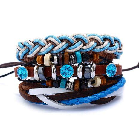 Wholesale DIY Multilayer Woven Cowhide Bracelet NHPK191614's discount tags