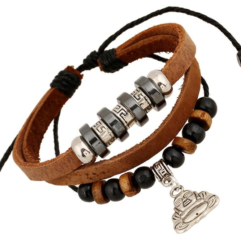 Accessories leather beaded bracelet personalized jewelry bracelet spot wholesale NHPK191615