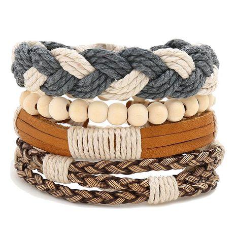 Wooden beads combination cowhide suit men's bracelet NHPK191618's discount tags