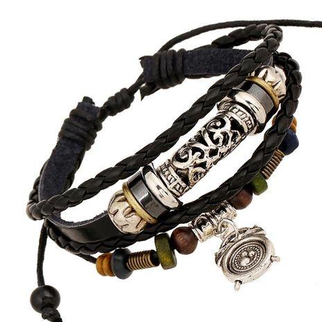 Alarm pendant leather beaded bracelet punk wind bracelet spot wholesale NHPK191621's discount tags