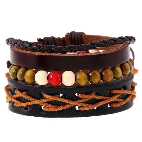Simple Retro Woven Cowhide Bracelet Bracelet Leather Bracelet Multi-layer Suit Bracelet NHPK191624's discount tags