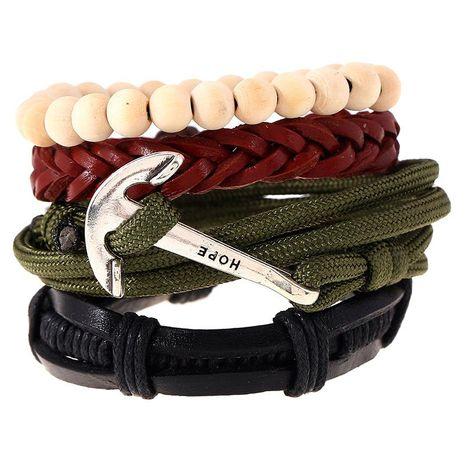 Simple Retro Woven Alloy Leather Bracelet Bracelet Leather Bracelet NHPK191625's discount tags