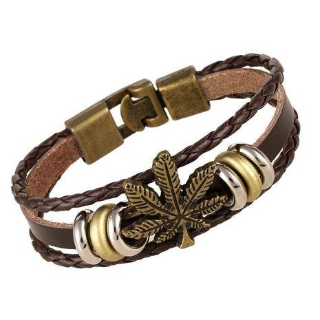 New Vintage Maple Leaf Woven Cowhide Bracelet NHPK191626's discount tags