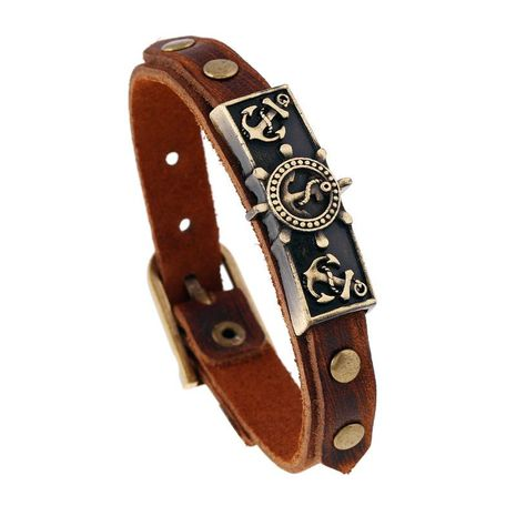 Alloy vintage cowhide bracelet bracelet gift distressed effect leather bracelet NHPK191630's discount tags