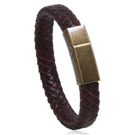 Stainless steel leather bracelet vintage woven men's jewelry imitation cowhide bracelet titanium steel bracelet NHPK191637's discount tags