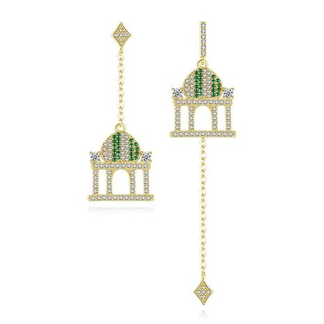 Creative castle pendant earrings left and right asymmetric long ladies earrings NHTM191644's discount tags
