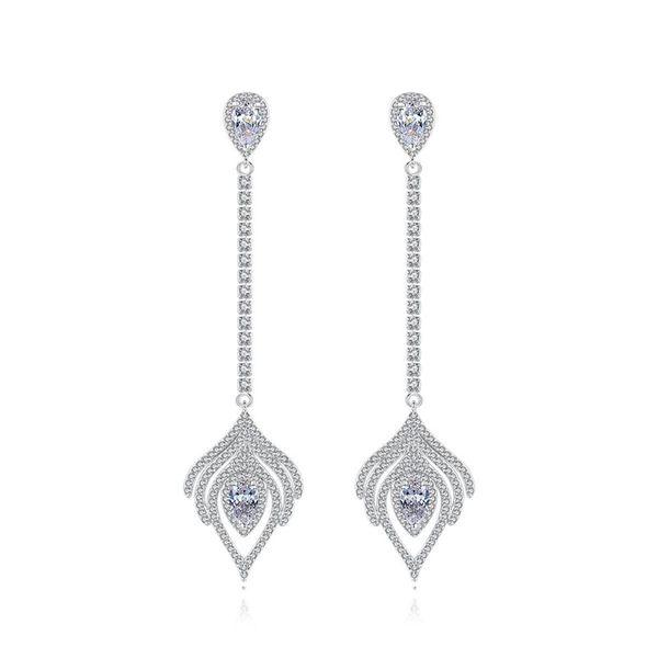 Bird feather earrings Korean fashion new feather long pendant earrings women NHTM191645
