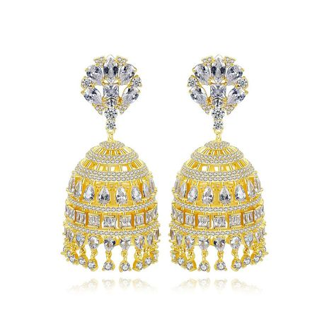 Hollow tassel copper inlaid zircon bell earrings NHTM191649's discount tags
