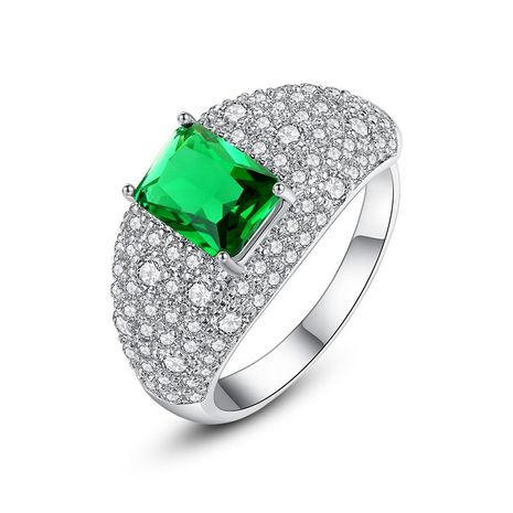 Fashion pavé main stone green ring ladies NHTM191663's discount tags