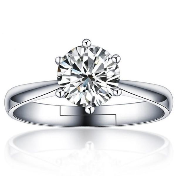 Six-prong simulation diamond ring female wedding ring jewellery ring NHQL191678
