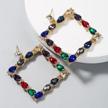 Personality square alloy inlaid diamond earrings for women NHLN191684