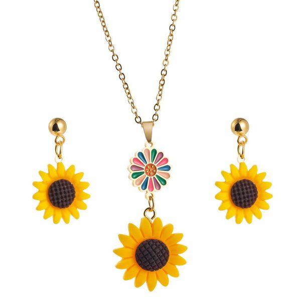 Women's Necklace Earring Set Sunflower Earring Sun Flower Necklace NHLN191685