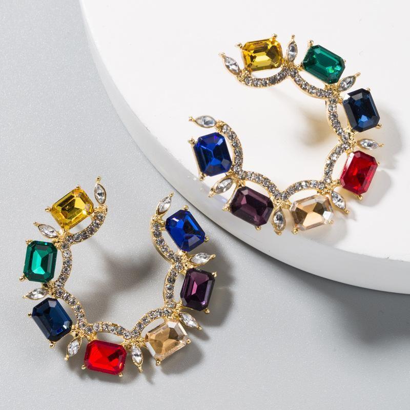 Alloy Earrings Female Temperament C-shaped Stud Earrings with Color Rhinestones NHLN191690