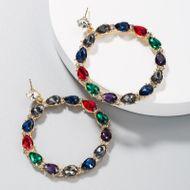 Earrings alloy stud earrings with colored rhinestones Za earrings NHLN191691