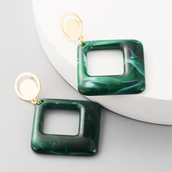 Vintage acetate sheet ladies earrings hollow geometric square NHLN191692