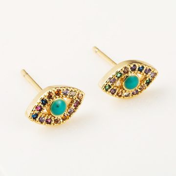 Aretes para mujer con textura simple pendientes de latón chapado en oro de 18 quilates color circonio pendientes de ojo de diablo NHLN191693