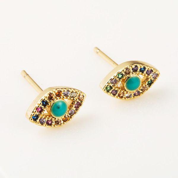 Simple temperament earrings brass plated 18K gold plated color zircon devil's eye earrings NHLN191693