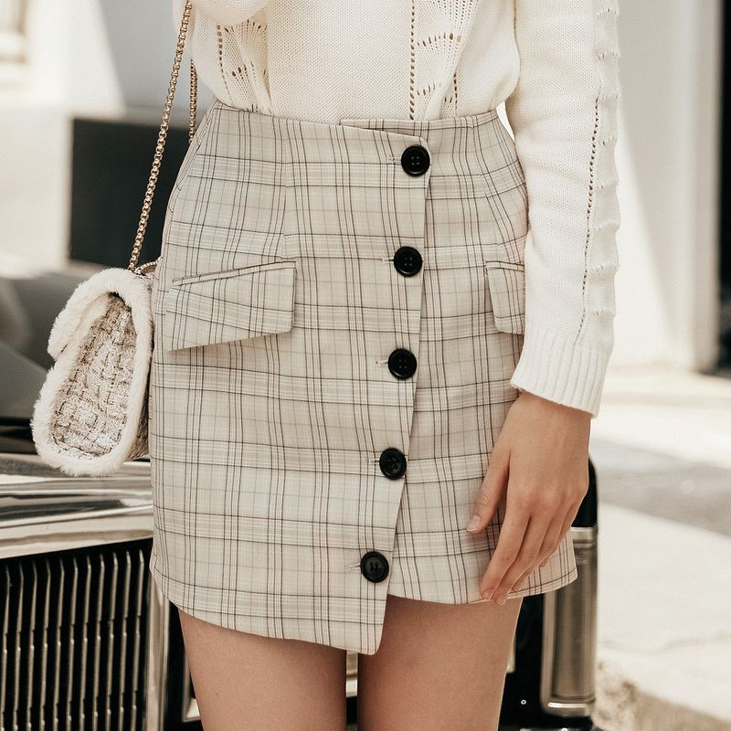 Sweet apricot checked button skirt wholesale women39s fashion clothing NHDE195837