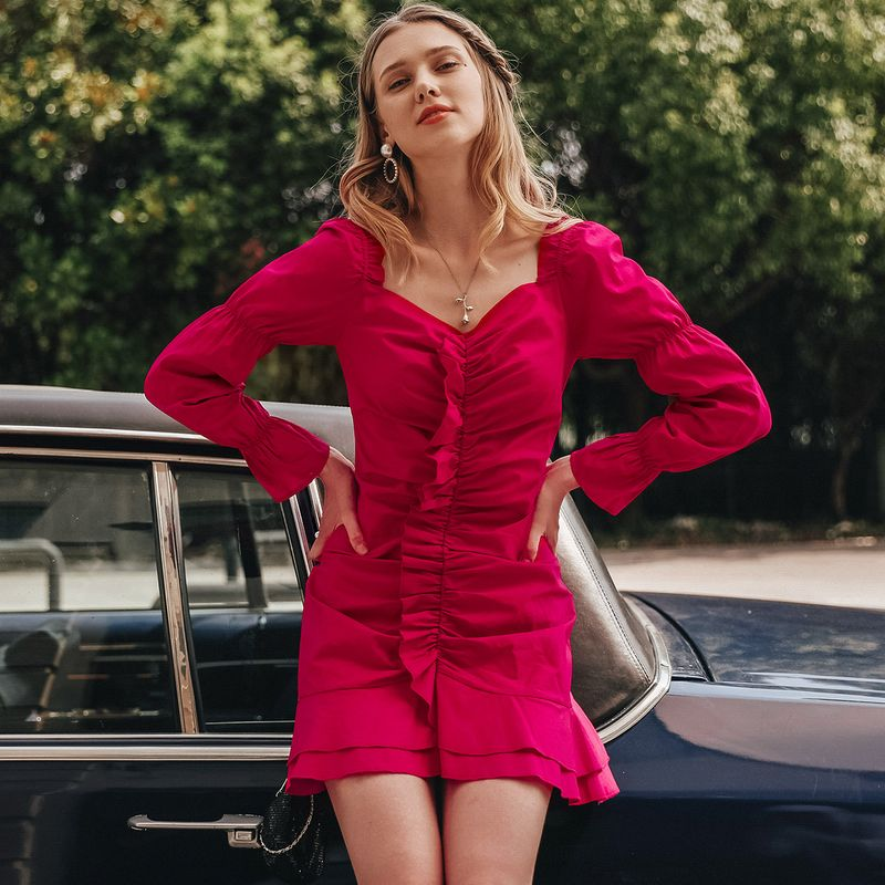 Sexy red pleated dress wholesale women's fashion clothing NHDE195847