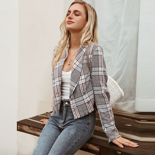 Sexy checked short coat wholesale women's fashion clothing NHDE195881