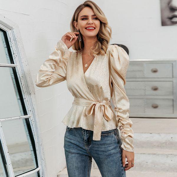 Sexy champagne satin V-neck shirt wholesale women's fashion clothing NHDE195887