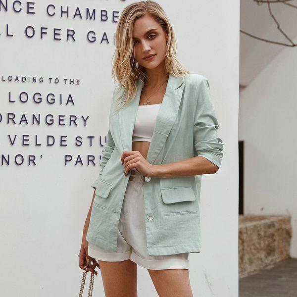 Simple light blue commuter coat wholesale women's fashion clothing NHDE195888