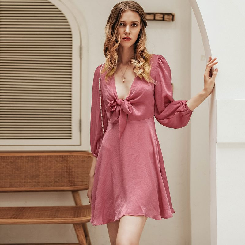 Sexy pink low neck sweet dress wholesale women's fashion clothing NHDE195890
