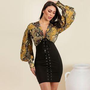 Bag hip dress Long Sleeve Print Wholesale Fashion Women's Clothing NHDE195901
