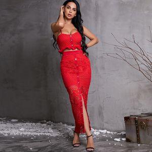 Red Sexy Leg Split Halter Skirt Wholesale Fashion Women's Clothing NHDE195908