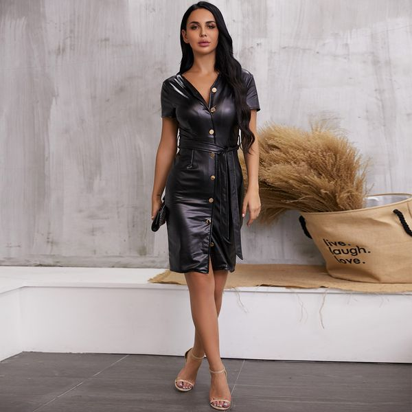 Black V-neck sexy dress with short sleeves NHDE195916