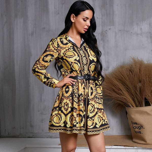 Ethnic Print Long Sleeve Dress Wholesale Fashion Women's Clothing NHDE195922