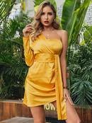 Bright Yellow Bandeau Dress Wholesale Fashion Womens Clothing NHDE195923
