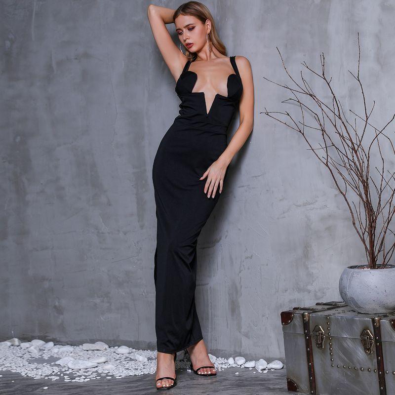 Sexy Black V-neck Long Dress Wholesale Fashion Women's Clothing NHDE195924