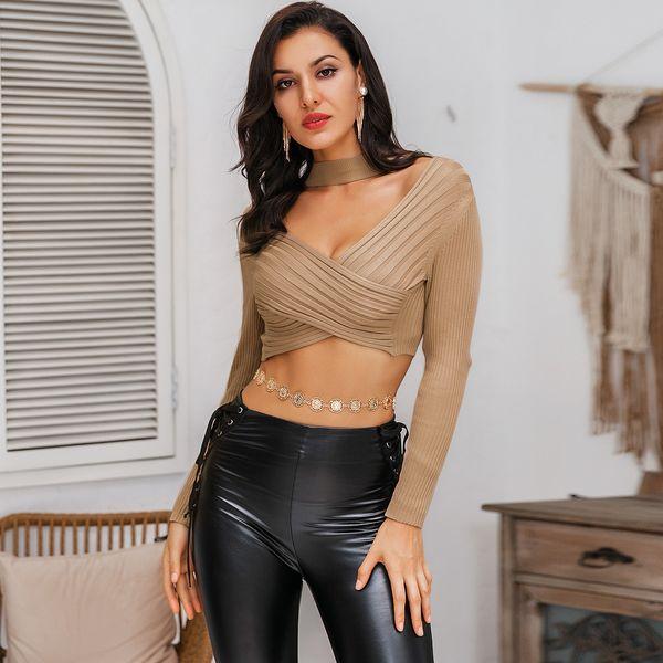 Khaki V-neck Bare Navel Sexy Top Long Sleeve Wholesale