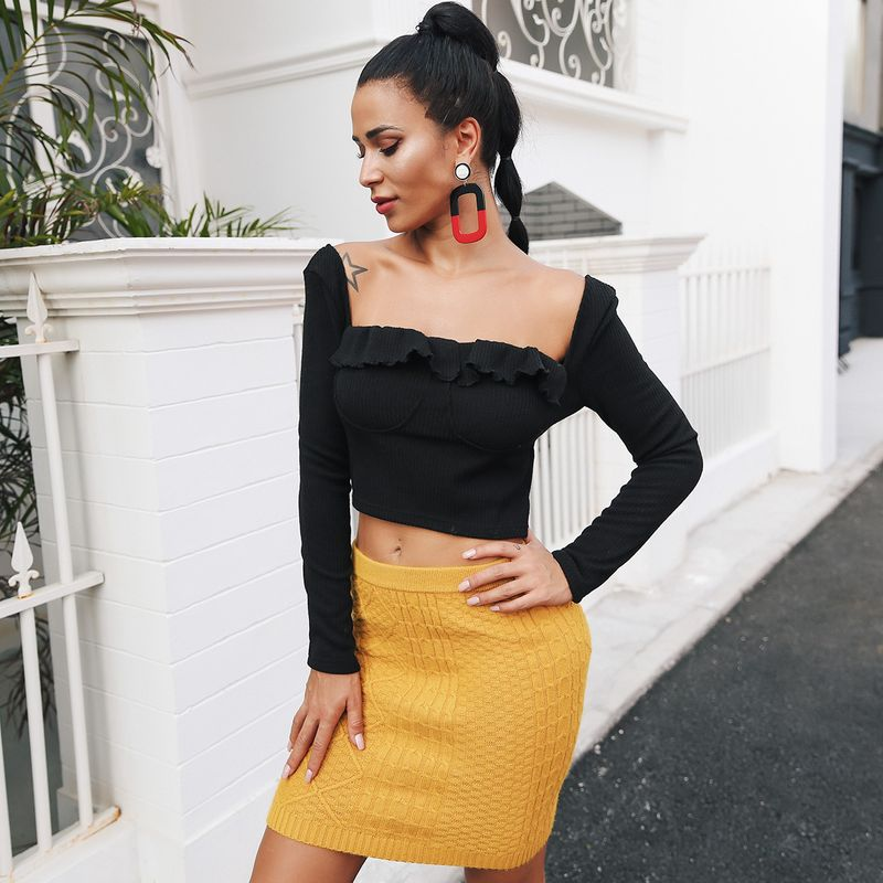 Single Shoulder Black Sexy Top Wholesale Fashion Women's Clothing NHDE195935
