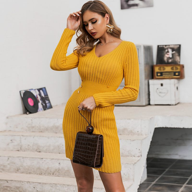 Small V-neck Sexy Yellow Long Sleeve Dress Short Wholesale Fashion Women's Clothing NHDE195944