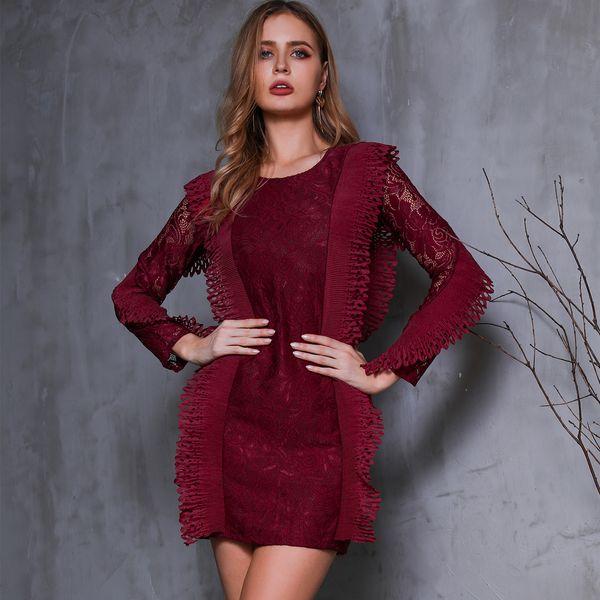 Round Neck Long Sleeve Elegant Dress Wholesale Fashion Women's Clothing NHDE195962