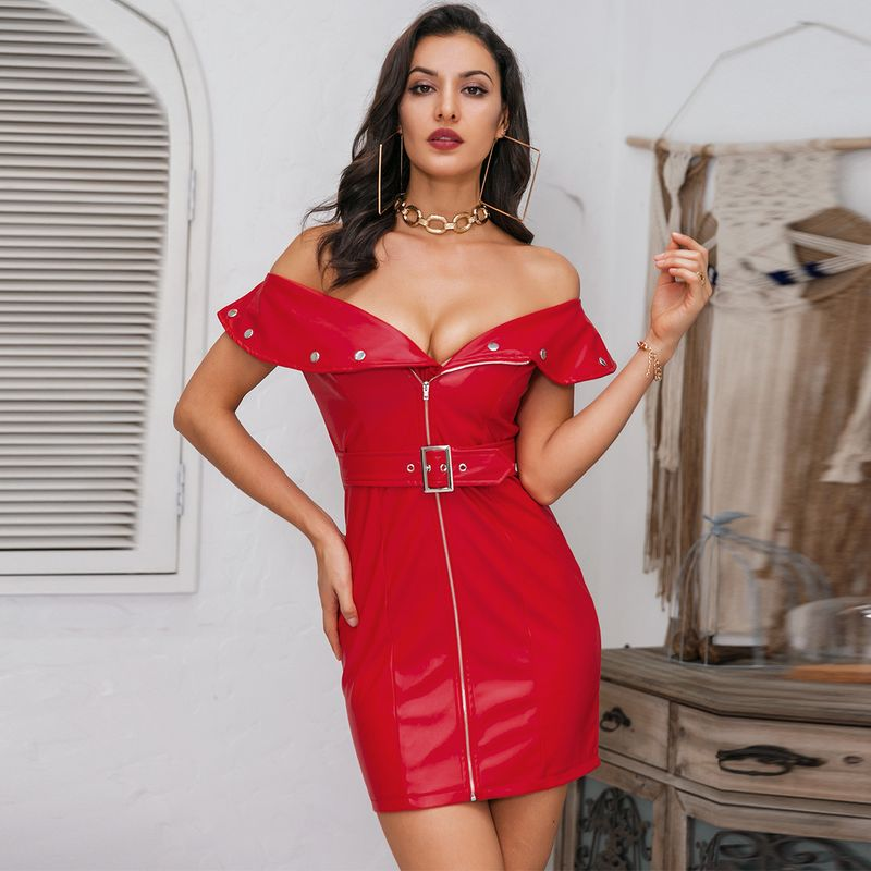 Sexy One Shoulder Red Dress Wholesale Fashion Women's Clothing NHDE195964