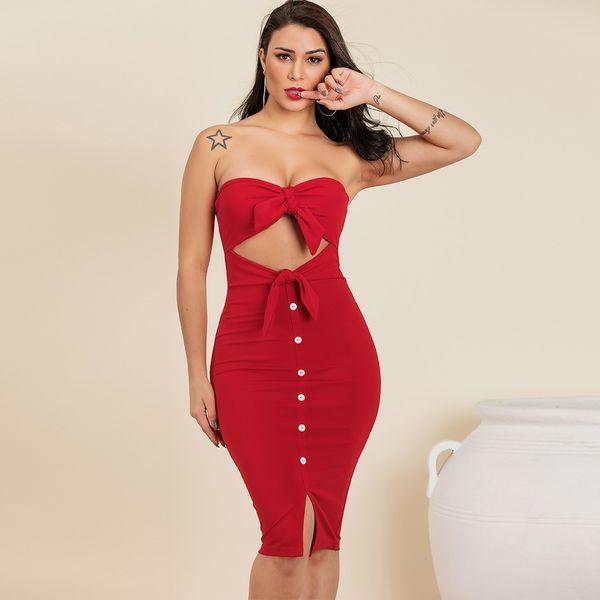 Vestido sexy rojo Ropa de mujer de moda al por mayor NHDE195966