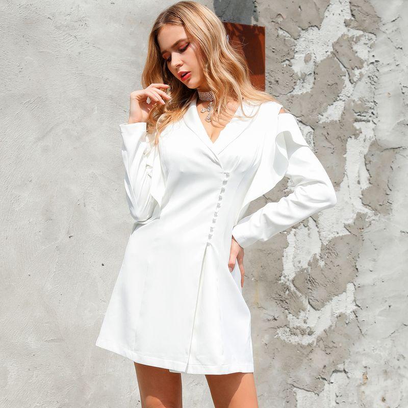 Vestido blanco con cuello en V simple Ropa de mujer de moda al por mayor NHDE195967