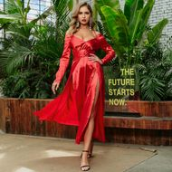 Sexy Big V-neck Red Dress Skirt Wholesale Fashion Women's Clothing NHDE195969