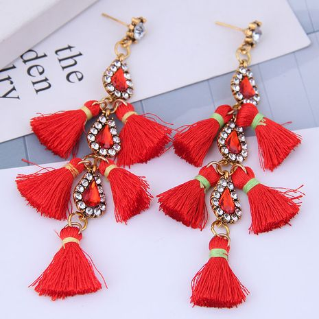 European and American fashion metal simple flash diamond water drop fringed exaggerated temperament earrings NHSC191985's discount tags