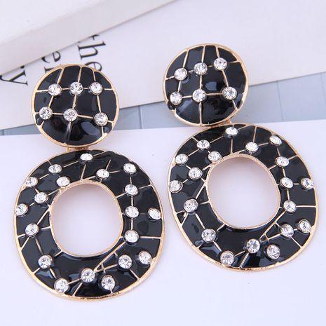 European and American fashion metal flash diamond geometric oval shape exaggerated earrings NHSC191984's discount tags