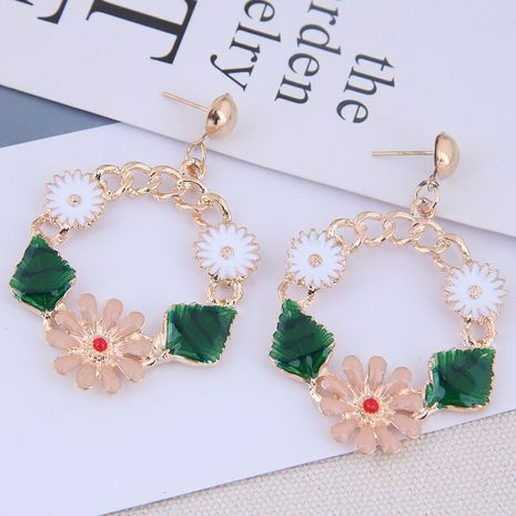 European and American fashion metal simple and sweet flower exaggerated earrings NHSC191982's discount tags