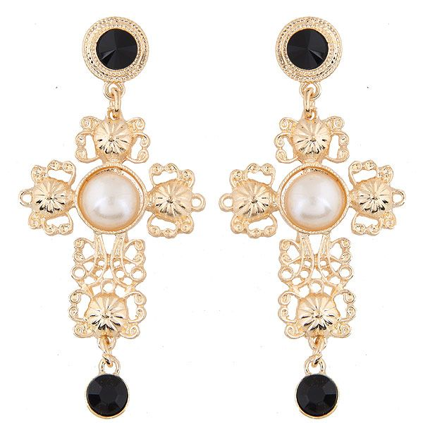 European and American fashion metal small pepper with the same cross temperament earrings NHSC191979