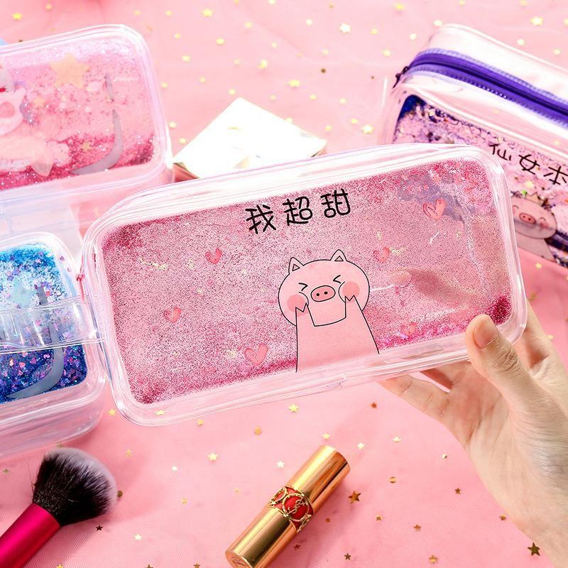 Cartoon quicksand into oil pen bag girl heart large capacity storage bag transparent cute cosmetic bag NHHE191730