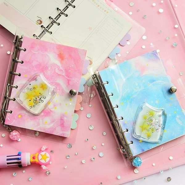 Starry sky into the oil loose-leaf hand book detachable fantasy girl heart notebook stationery wholesale NHHE191734