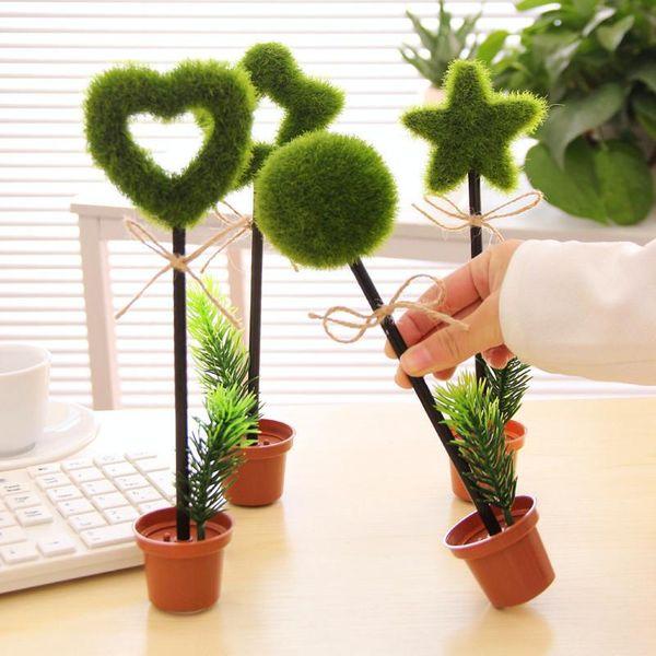 Green pastoral plant desktop decoration table pen potted ball pen flower pot modeling pen NHZE191751